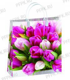 Сумочка из мягкого пластика 01 (26х23х10) малая BAS-146 (Розовые тюльпаны)