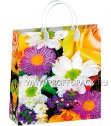Сумочка из мягкого пластика 03 (41х32х10) большая BAL-150 (Яркие цветы)