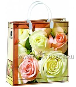 Сумочка из мягкого пластика 02 (30х30х10) средняя BАМ-115 (Чайные розы)