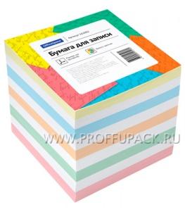 Блок для записей 9х9х9 не проклееный, цветной OfficeSpace (162-002)