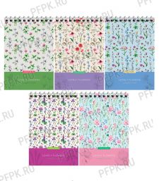 Блокнот А6 (60 листов) на гребне Цветы (279-972/Б6к60гр_25987)