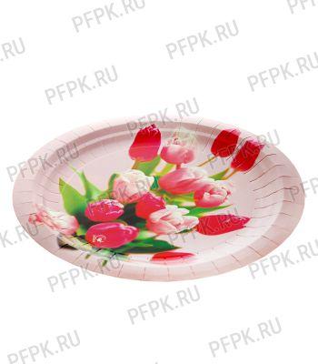 Тарелка бумажная 230мм Тюльпаны