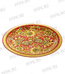 Тарелка бумажная 230мм Хохлома красная