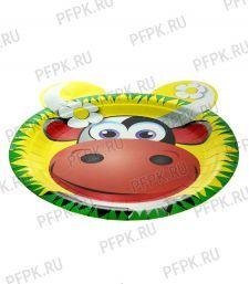 Тарелка бумажная 230мм Корова