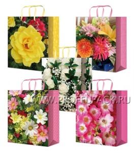 Сумочка бумажная 32х44х10 МЕГА (XL) XL-5113/5114/5115/5116/5117 (Цветы)