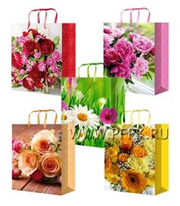 Сумочка бумажная 32х44х10 МЕГА (XL) XL-5143/5144/5145/5146/5147 (Цветы)
