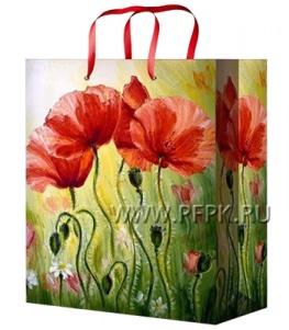 Сумочка бумажная 18х22х10 МЕГА (M) М-2238 (Цветы)