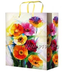 Сумочка бумажная 18х22х10 МЕГА (M) М-2239 (Цветы)