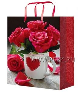 Сумочка бумажная 18х22х10 МЕГА (M) М-2245 (Цветы)