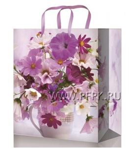 Сумочка бумажная 18х22х10 МЕГА (M) М-2243 (Цветы)