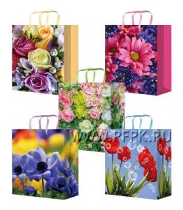 Сумочка бумажная 18х22х10 МЕГА (M) М-2306/2307/2308/2309/2310 (Цветы)