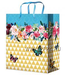 Сумочка бумажная 18х22х10 МЕГА (M) M-2258 (Цветы)