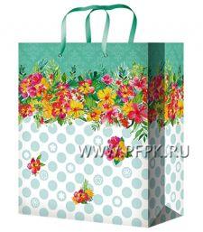 Сумочка бумажная 18х22х10 МЕГА (M) M-2259 (Цветы)