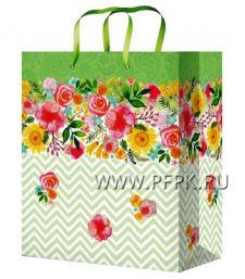 Сумочка бумажная 18х22х10 МЕГА (M) M-2260 (Цветы)