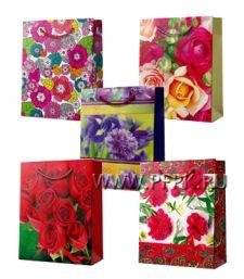 Сумочка бумажная 18х22х10 МЕГА (M) M-36651/37792/37875/38934/39496 (Цветы)