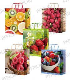Сумочка бумажная 18х22х10 МЕГА (M) M-2336/2337/2338/2339/2340 (Ягоды, фрукты)