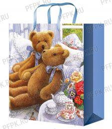 Сумочка бумажная 18х22х10 МЕГА (M) M-2231 (Медведи)