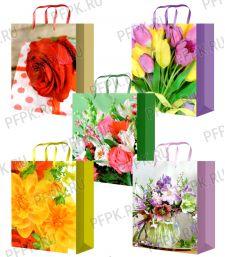 Сумочка бумажная 18х22х10 МЕГА (M) М-200/201/202/203/204 (Цветы)
