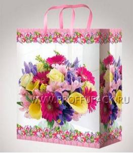 Сумочка бумажная 26х32х13 МЕГА (L) L-3179 (Яркие цветы)