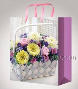 Сумочка бумажная 26х32х13 МЕГА (L) L-3181 (Яркие цветы)