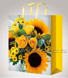 Сумочка бумажная 26х32х13 МЕГА (L) L-3182 (Яркие цветы)