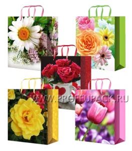Сумочка бумажная 26х32х13 МЕГА (L) L-3228/3229/3230/3231/3232 (Цветы)