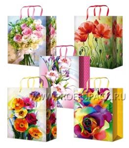 Сумочка бумажная 26х32х13 МЕГА (L) L-3233/3234/3235/3236/3237 (Цветы)