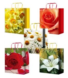 Сумочка бумажная 26х32х13 МЕГА (L) L-3243/3244/3245/3246/3247 (Цветы)