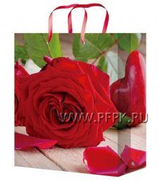 Сумочка бумажная 26х32х13 МЕГА (L) L-3247 (Роза)
