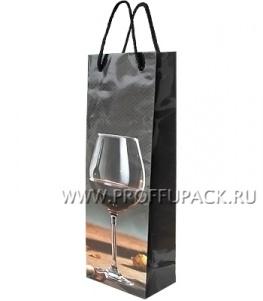 Сумочка бумажная под бутылку 12х36х8 МЕГА (B) В-465 (Бокал)