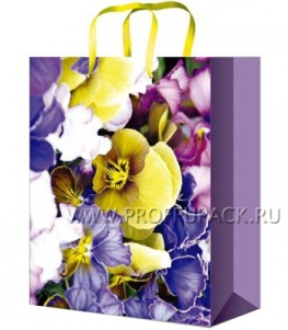 Сумочка бумажная 11х13х6 МЕГА (S) S-1034 (Красивый букет)