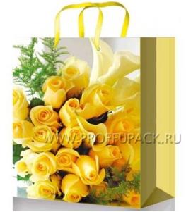 Сумочка бумажная 11х13х6 МЕГА (S) S-1074 (Желтые розы)