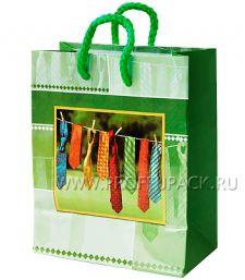 Сумочка бумажная 11х13х6 МЕГА (S) S-1081 (Мужская, галстуки)
