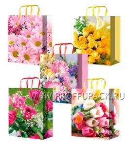 Сумочка бумажная 11х13х6 МЕГА (S) S-1071/1072/1073/1074/1075 (Цветы)