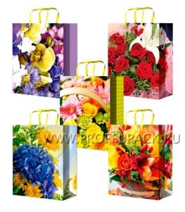 Сумочка бумажная 11х13х6 МЕГА (S) S-1031/1032/1033/1034/1035 (Цветы)