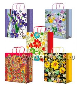 Сумочка бумажная 11х13х6 МЕГА (S) S-1066/1067/1068/1069/1070 (Цветы)