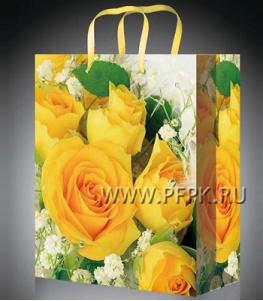 Сумочка бумажная 11х13х6 МЕГА (S) S-1030 (Желтые розы)