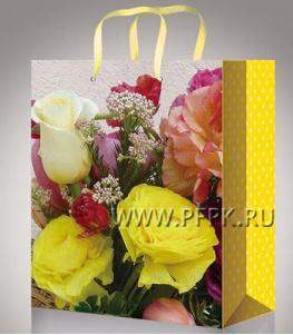 Сумочка бумажная 11х13х6 МЕГА (S) S-1077 (Цветы)