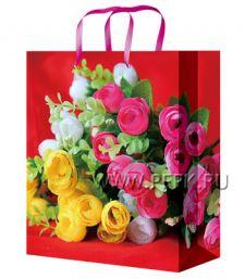 Сумочка бумажная 11х13х6 МЕГА (S) S-1110 (Цветы)