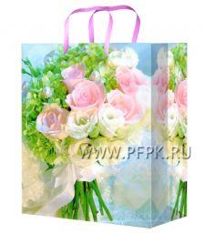 Сумочка бумажная 11х13х6 МЕГА (S) S-1106 (Розы)