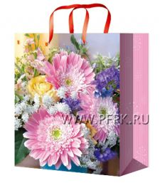 Сумочка бумажная 11х13х6 МЕГА (S) S-1071 (Цветы)