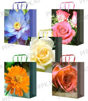 Сумочка бумажная 11х13х6 МЕГА (S) S-1156/1157/1158/1159/1160 (Цветы)