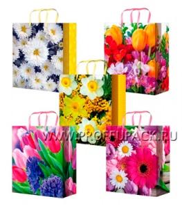Сумочка бумажная 14х20х6,5 МЕГА (MS) MS-6057/6058/6059/6060/6061 (Цветы)