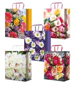 Сумочка бумажная 14х20х6,5 МЕГА (MS) MS-6052/6053/6054/6055/6056 (Цветы)