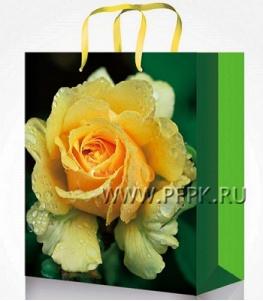 Сумочка бумажная 14х20х6,5 МЕГА (MS) MS-6095 (Желтая роза)