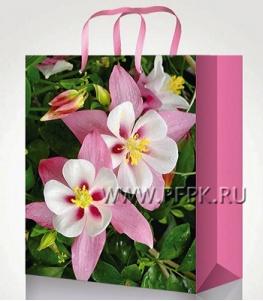 Сумочка бумажная 14х20х6,5 МЕГА (MS) MS-6100 (Цветы)