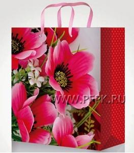 Сумочка бумажная 14х20х6,5 МЕГА (MS) MS-6101 (Цветы)