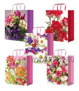 Сумочка бумажная 14х20х6,5 МЕГА (MS) MS-6127/6128/6129/6130/6131 (Цветы)