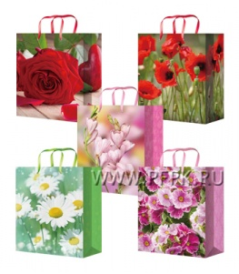Сумочка бумажная 14х20х6,5 МЕГА (MS) MS-6132/6133/6134/6135/6136 (Цветы)