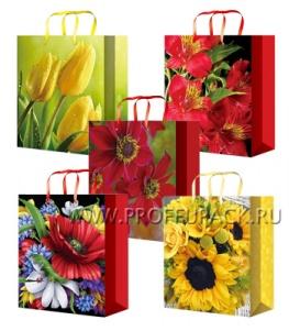 Сумочка бумажная 22х31х10 МЕГА (ML) ML-7111/7112/7113/7114/7115 (Цветы)